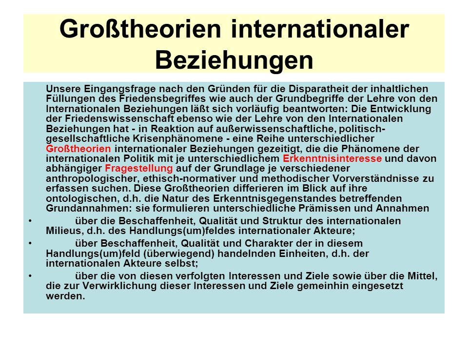 Großtheorien internationaler Beziehungen Unsere Eingangsfrage nach den Gründen für die Disparatheit der inhaltlichen Füllungen des Friedensbegriffes w