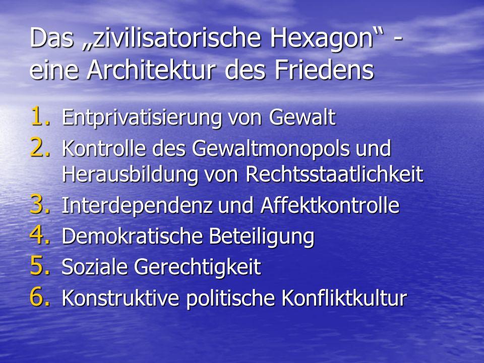 Das zivilisatorische Hexagon - eine Architektur des Friedens 1. Entprivatisierung von Gewalt 2. Kontrolle des Gewaltmonopols und Herausbildung von Rec