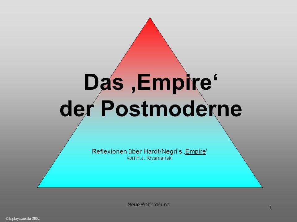 1 Das Empire der Postmoderne © h.j.krysmanski 2002 Neue Weltordnung Reflexionen über Hardt/Negris Empire von H.J. Krysmanski