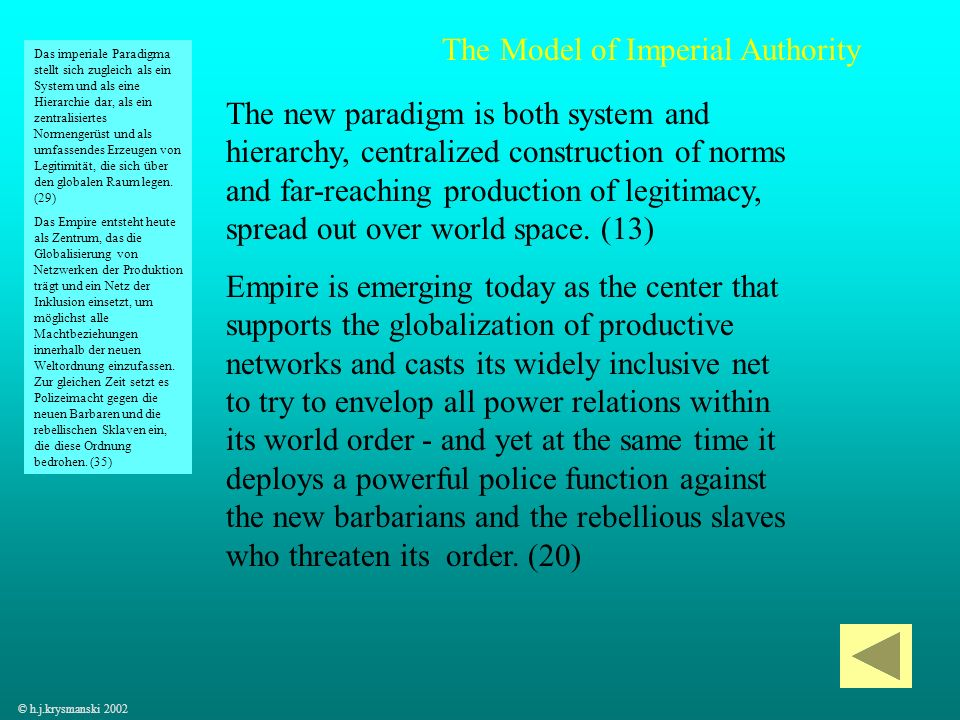 55 The new paradigm is both system and hierarchy, centralized construction of norms and far-reaching production of legitimacy, spread out over world s