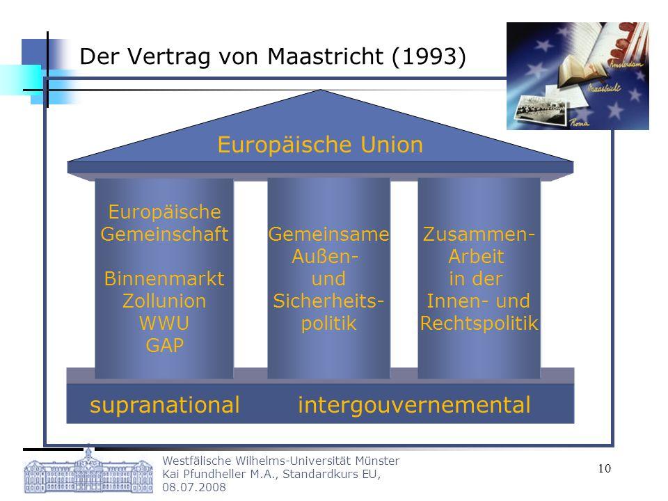 Westfälische Wilhelms-Universität Münster Kai Pfundheller M.A., Standardkurs EU, 08.07.2008 10 Der Vertrag von Maastricht (1993) Europäische Union sup