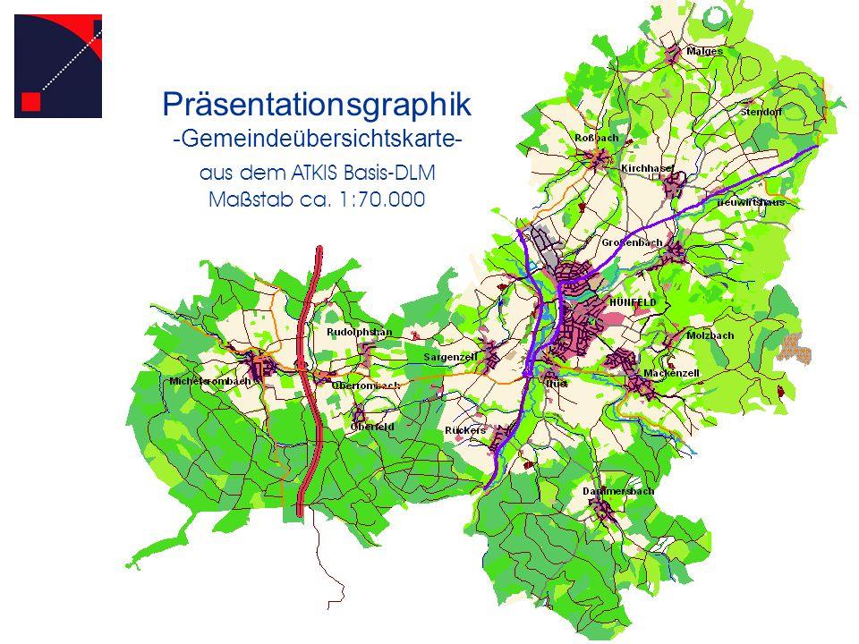 Präsentationsgraphik -Gemeindeübersichtskarte- aus dem ATKIS Basis-DLM Maßstab ca. 1:70.000