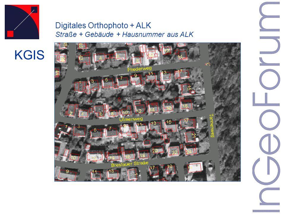 Digitales Orthophoto + ALK Straße + Gebäude + Hausnummer aus ALK KGIS