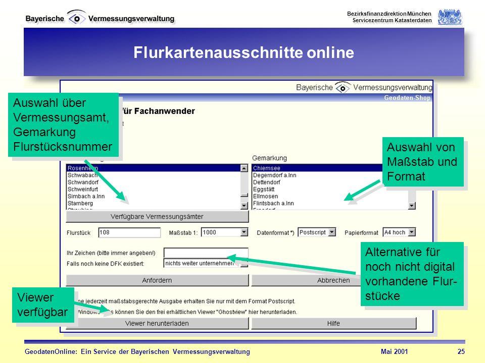 Bezirksfinanzdirektion München Servicezentrum Katasterdaten Bezirksfinanzdirektion München Servicezentrum Katasterdaten GeodatenOnline: Ein Service de
