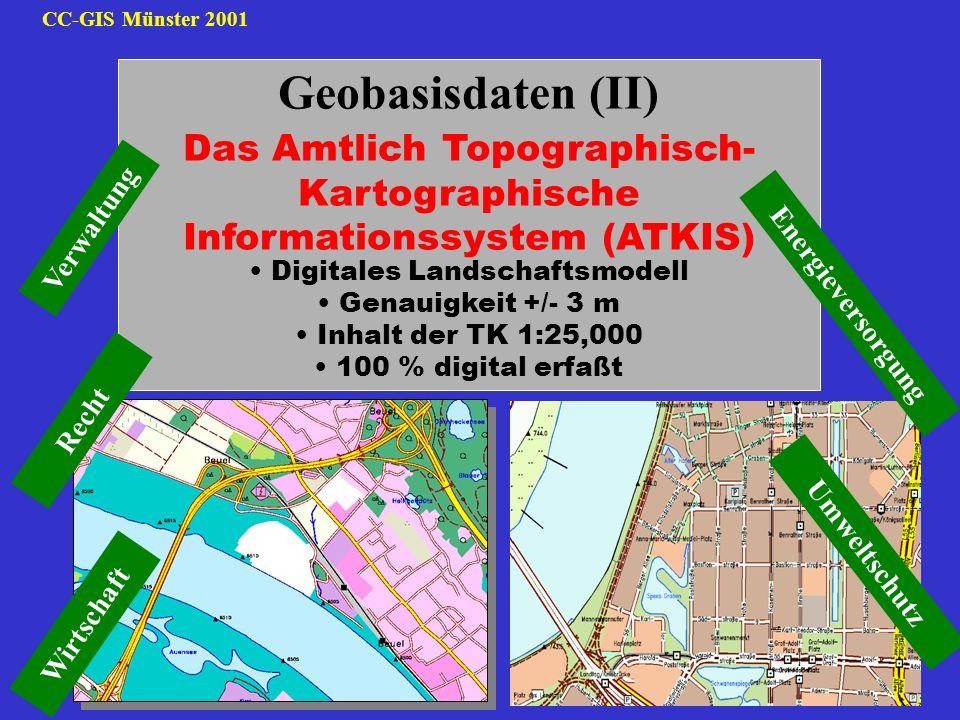 CC-GIS Münster 2001 Geobasisdaten (II) Das Amtlich Topographisch- Kartographische Informationssystem (ATKIS) Digitales Landschaftsmodell Genauigkeit +