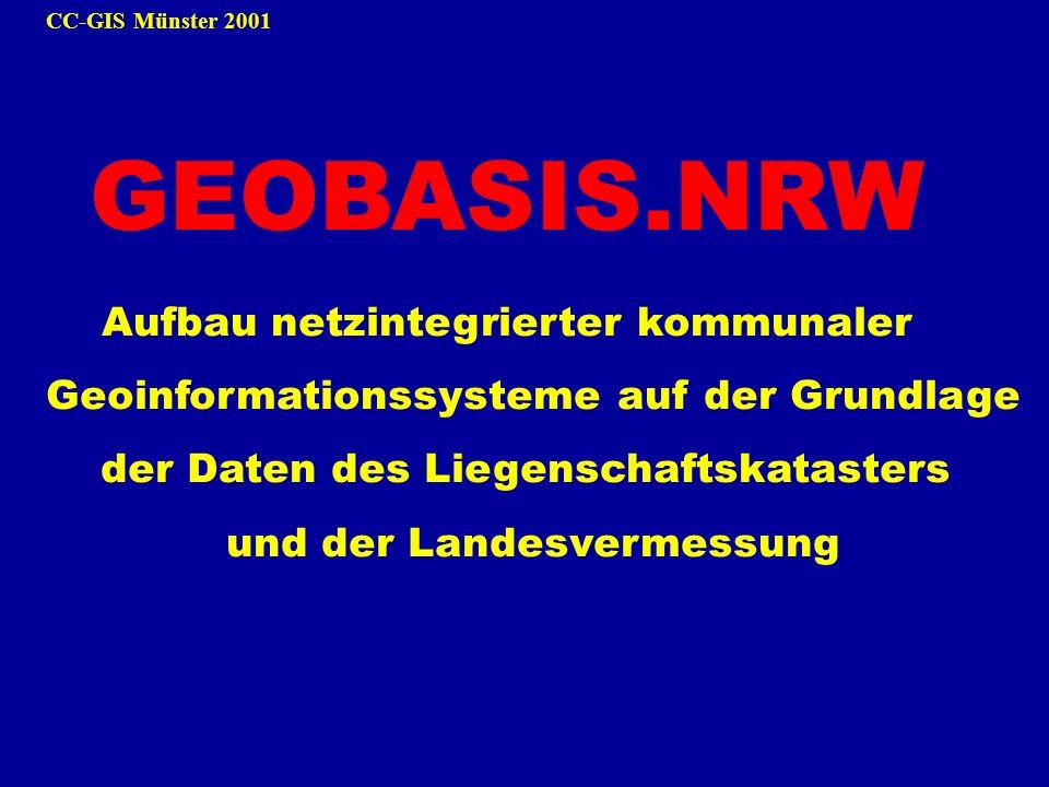 CC-GIS Münster 2001 GEOBASIS.NRW Aufbau netzintegrierter kommunaler Geoinformationssysteme auf der Grundlage der Daten des Liegenschaftskatasters und