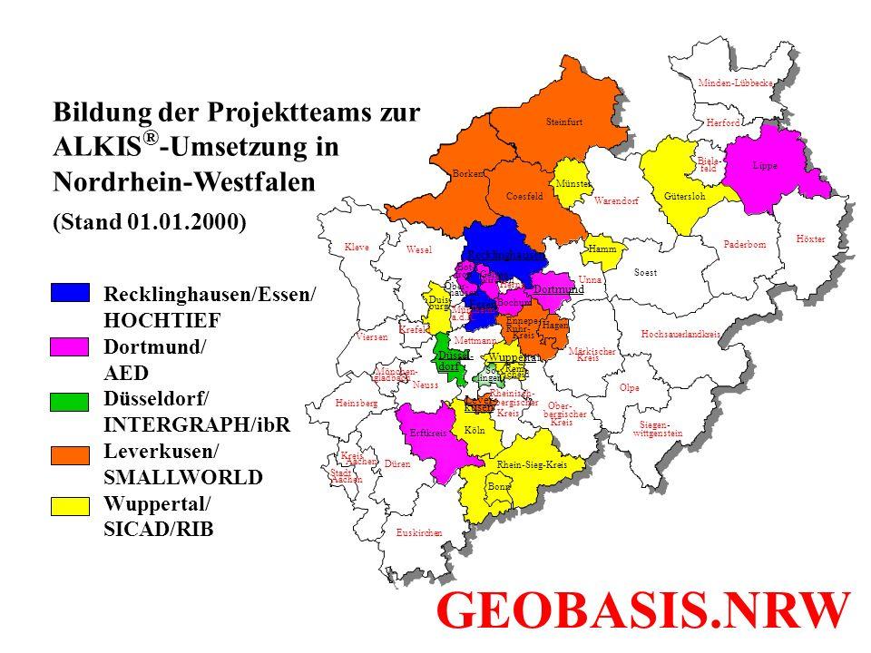 Bildung der Projektteams zur ALKIS ® -Umsetzung in Nordrhein-Westfalen (Stand 01.01.2000) Warendorf Hamm Soest Wesel Recklinghausen Krefeld Neuss Hein