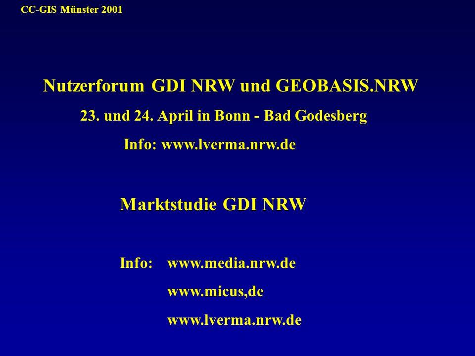 CC-GIS Münster 2001 Nutzerforum GDI NRW und GEOBASIS.NRW 23. und 24. April in Bonn - Bad Godesberg Info: www.lverma.nrw.de Marktstudie GDI NRW Info: w