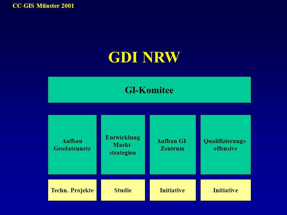 CC-GIS Münster 2001 GI-Komitee Aufbau Geodatennetz Entwicklung Markt- strategien Aufbau GI- Zentrum Qualifizierungs- offensive Techn. ProjekteStudieIn
