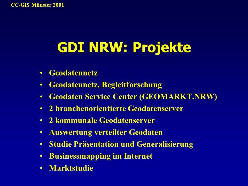 CC-GIS Münster 2001 Geodatennetz Geodatennetz, Begleitforschung Geodaten Service Center (GEOMARKT.NRW) 2 branchenorientierte Geodatenserver 2 kommunal