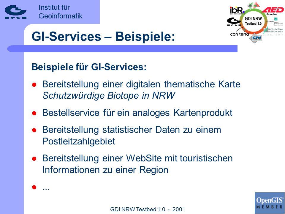 Institut für Geoinformatik GDI NRW Testbed 1.0 - 2001 GI-Services – Eigenschaften: Alle GI-Services in GDI NRW: verfügen über einen definierten Raumbezug sind über einen Mindestsatz an Metadaten beschrieben werden über das Internet (HTTP) aufgerufen stellen geringe Anforderungen an die technische Ausstattung der GI-Nutzer Es existiert eine geringe Einstiegshürde für Anbieter und Nutzer von GI-Services
