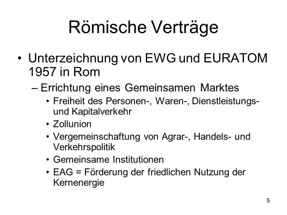 5 Römische Verträge Unterzeichnung von EWG und EURATOM 1957 in Rom –Errichtung eines Gemeinsamen Marktes Freiheit des Personen-, Waren-, Dienstleistun