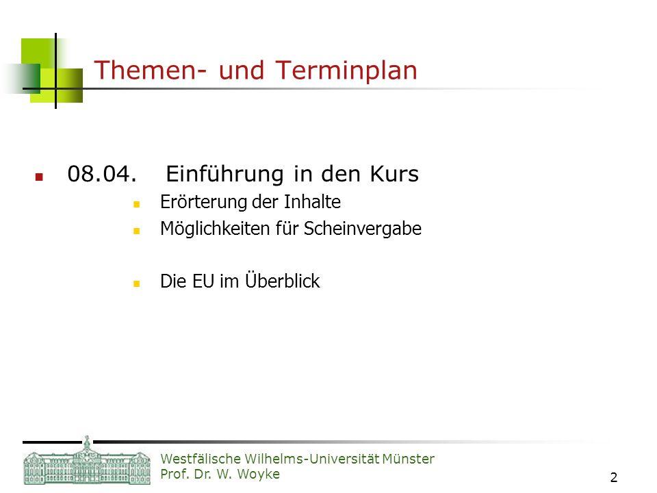 Westfälische Wilhelms-Universität Münster Prof. Dr. W. Woyke 2 Themen- und Terminplan 08.04.Einführung in den Kurs Erörterung der Inhalte Möglichkeite