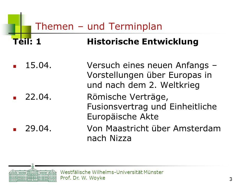 Westfälische Wilhelms-Universität Münster Prof. Dr. W. Woyke 3 Themen – und Terminplan Teil: 1Historische Entwicklung 15.04.Versuch eines neuen Anfang