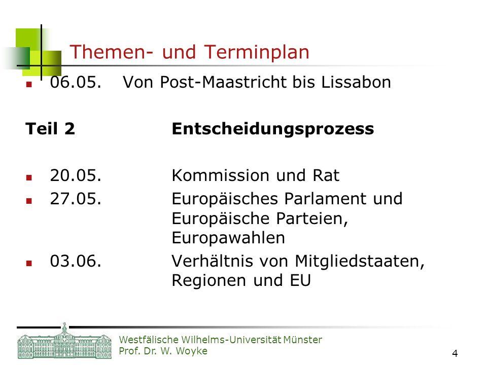 Westfälische Wilhelms-Universität Münster Prof. Dr. W. Woyke 4 Themen- und Terminplan 06.05.Von Post-Maastricht bis Lissabon Teil 2Entscheidungsprozes
