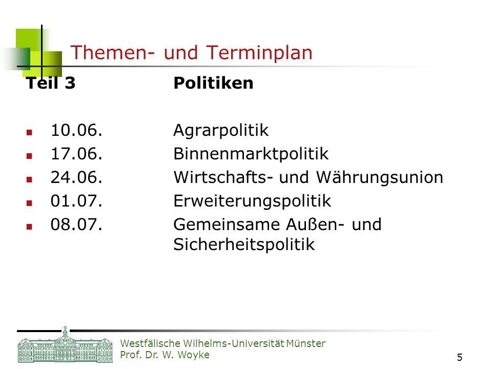 Westfälische Wilhelms-Universität Münster Prof. Dr. W. Woyke 5 Themen- und Terminplan Teil 3Politiken 10.06.Agrarpolitik 17.06.Binnenmarktpolitik 24.0