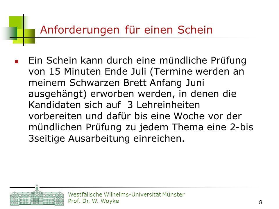 Westfälische Wilhelms-Universität Münster Prof. Dr. W. Woyke 8 Anforderungen für einen Schein Ein Schein kann durch eine mündliche Prüfung von 15 Minu
