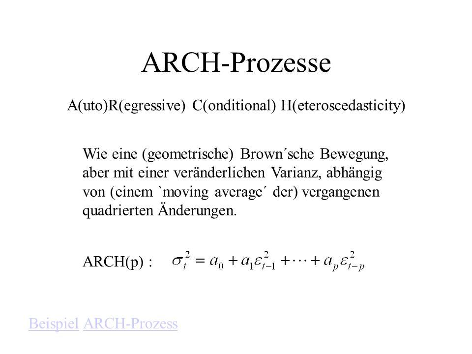 ARCH-Prozesse A(uto)R(egressive) C(onditional) H(eteroscedasticity) Wie eine (geometrische) Brown´sche Bewegung, aber mit einer veränderlichen Varianz