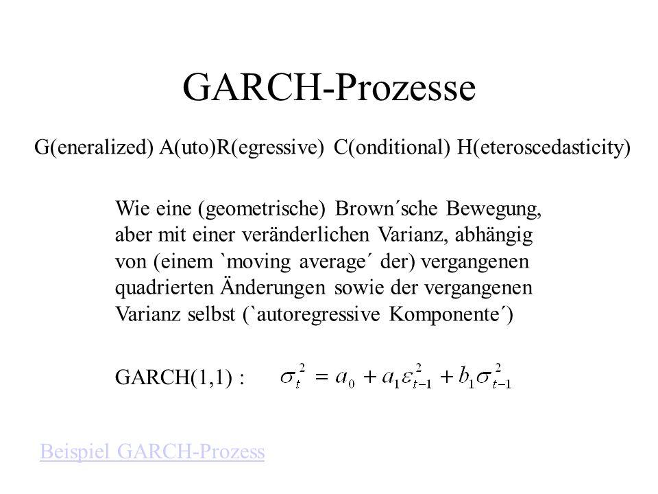 GARCH-Prozesse G(eneralized) A(uto)R(egressive) C(onditional) H(eteroscedasticity) Wie eine (geometrische) Brown´sche Bewegung, aber mit einer verände