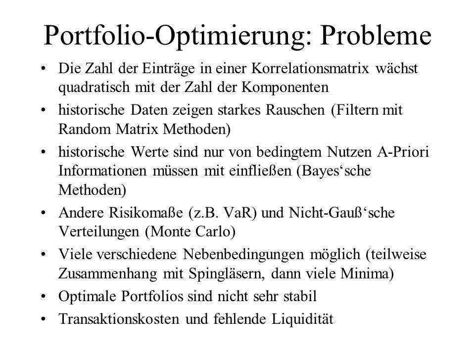Portfolio-Optimierung: Probleme Die Zahl der Einträge in einer Korrelationsmatrix wächst quadratisch mit der Zahl der Komponenten historische Daten ze