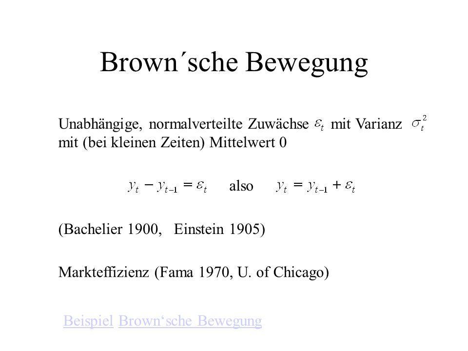 Brown´sche Bewegung Unabhängige, normalverteilte Zuwächse mit Varianz mit (bei kleinen Zeiten) Mittelwert 0 also (Bachelier 1900, Einstein 1905) Beisp