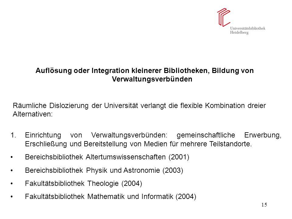 15 Auflösung oder Integration kleinerer Bibliotheken, Bildung von Verwaltungsverbünden Räumliche Dislozierung der Universität verlangt die flexible Ko