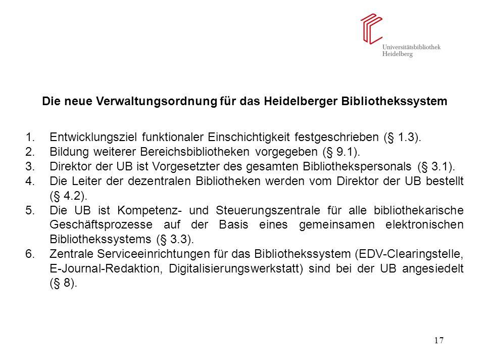 17 Die neue Verwaltungsordnung für das Heidelberger Bibliothekssystem 1.Entwicklungsziel funktionaler Einschichtigkeit festgeschrieben (§ 1.3). 2.Bild