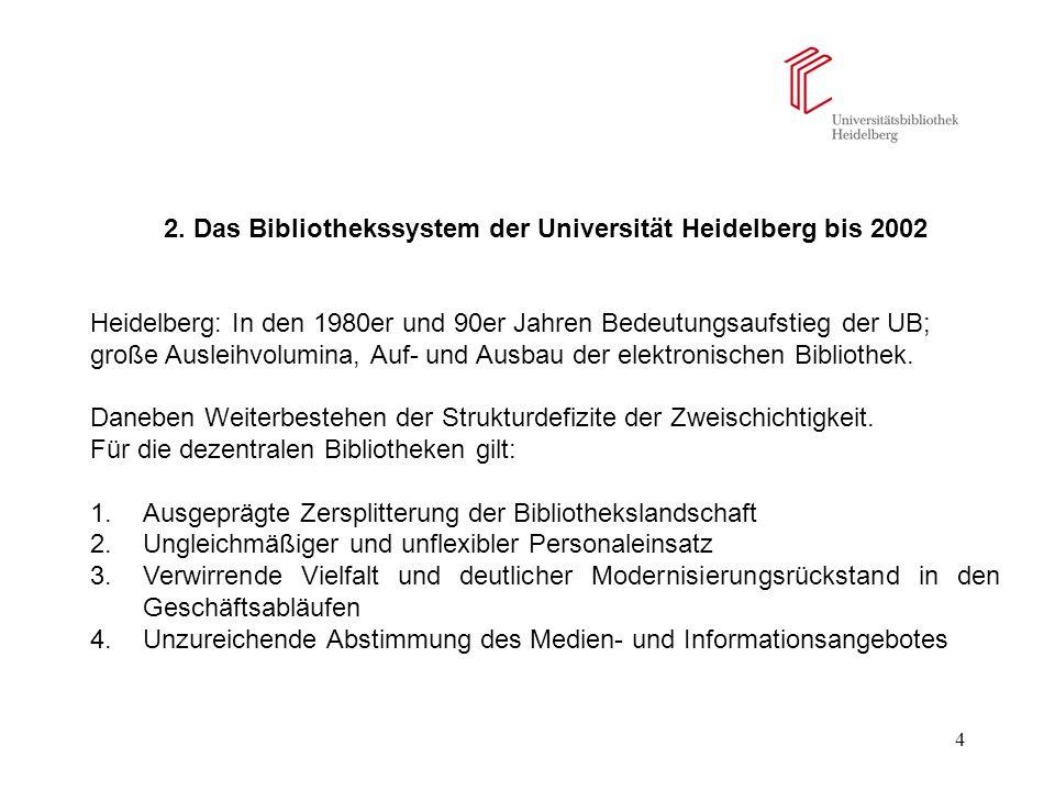4 2. Das Bibliothekssystem der Universität Heidelberg bis 2002 Heidelberg: In den 1980er und 90er Jahren Bedeutungsaufstieg der UB; große Ausleihvolum