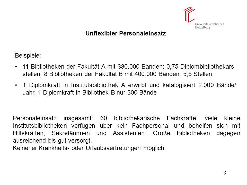 17 Die neue Verwaltungsordnung für das Heidelberger Bibliothekssystem 1.Entwicklungsziel funktionaler Einschichtigkeit festgeschrieben (§ 1.3).
