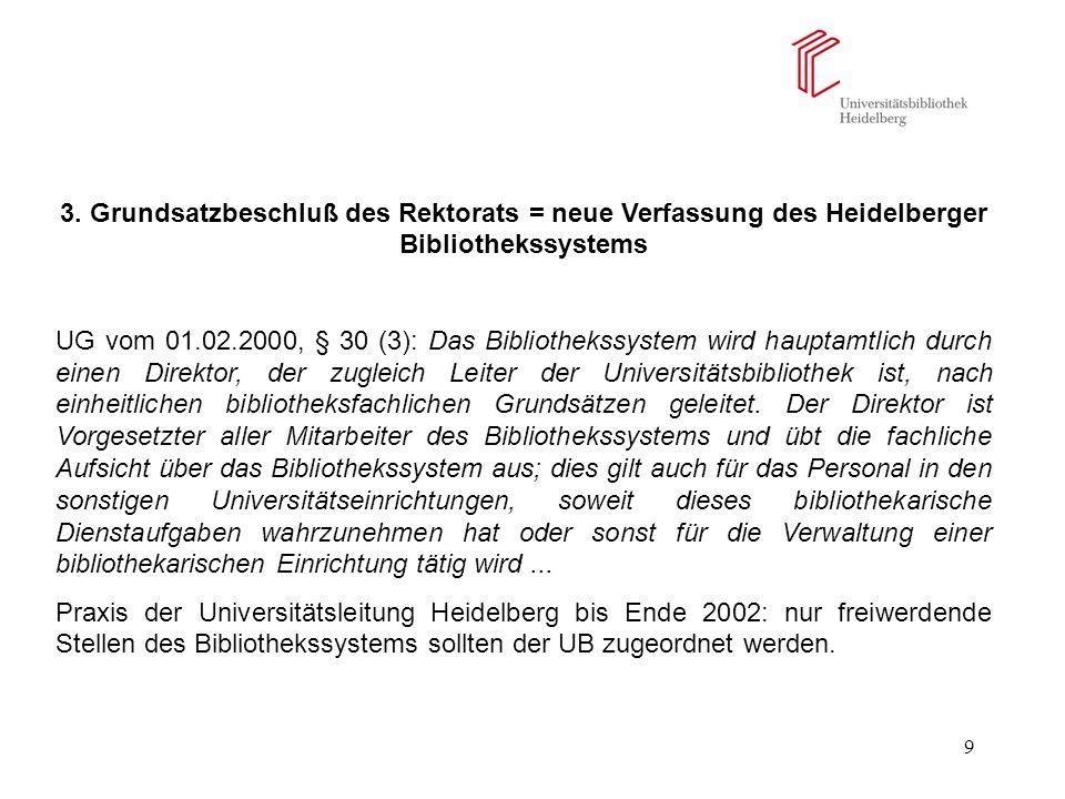 9 3. Grundsatzbeschluß des Rektorats = neue Verfassung des Heidelberger Bibliothekssystems UG vom 01.02.2000, § 30 (3): Das Bibliothekssystem wird hau