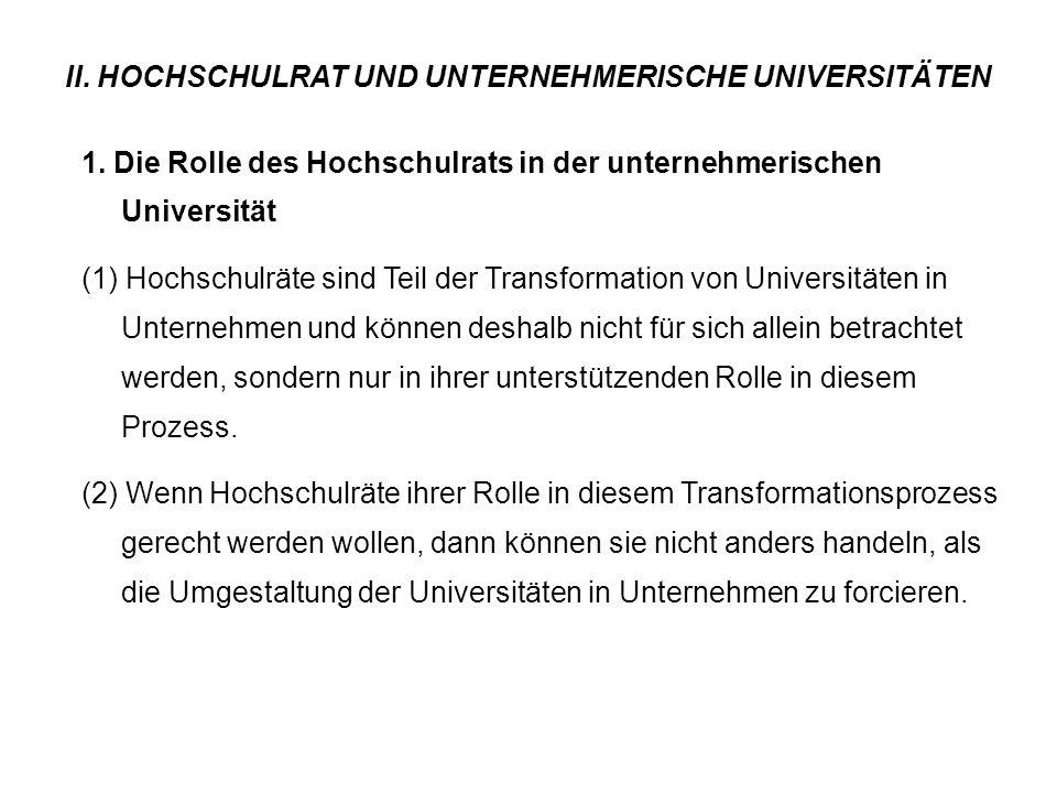 II. HOCHSCHULRAT UND UNTERNEHMERISCHE UNIVERSITÄTEN 1. Die Rolle des Hochschulrats in der unternehmerischen Universität (1) Hochschulräte sind Teil de