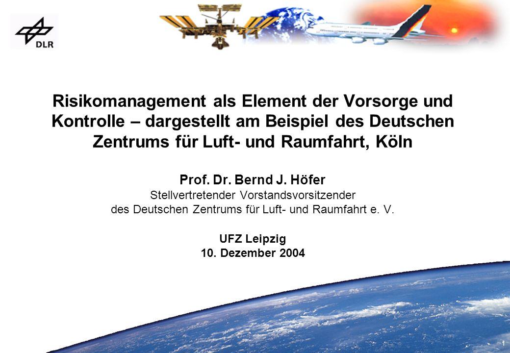 1 Risikomanagement als Element der Vorsorge und Kontrolle – dargestellt am Beispiel des Deutschen Zentrums für Luft- und Raumfahrt, Köln Prof. Dr. Ber