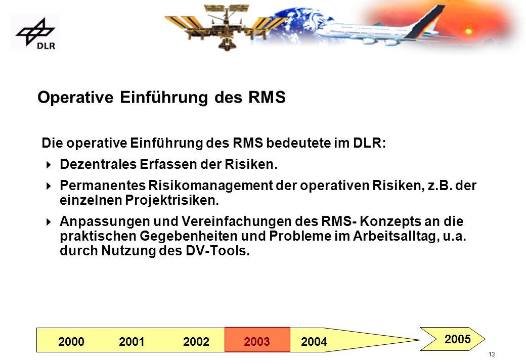 13 Operative Einführung des RMS Die operative Einführung des RMS bedeutete im DLR: Dezentrales Erfassen der Risiken. Permanentes Risikomanagement der