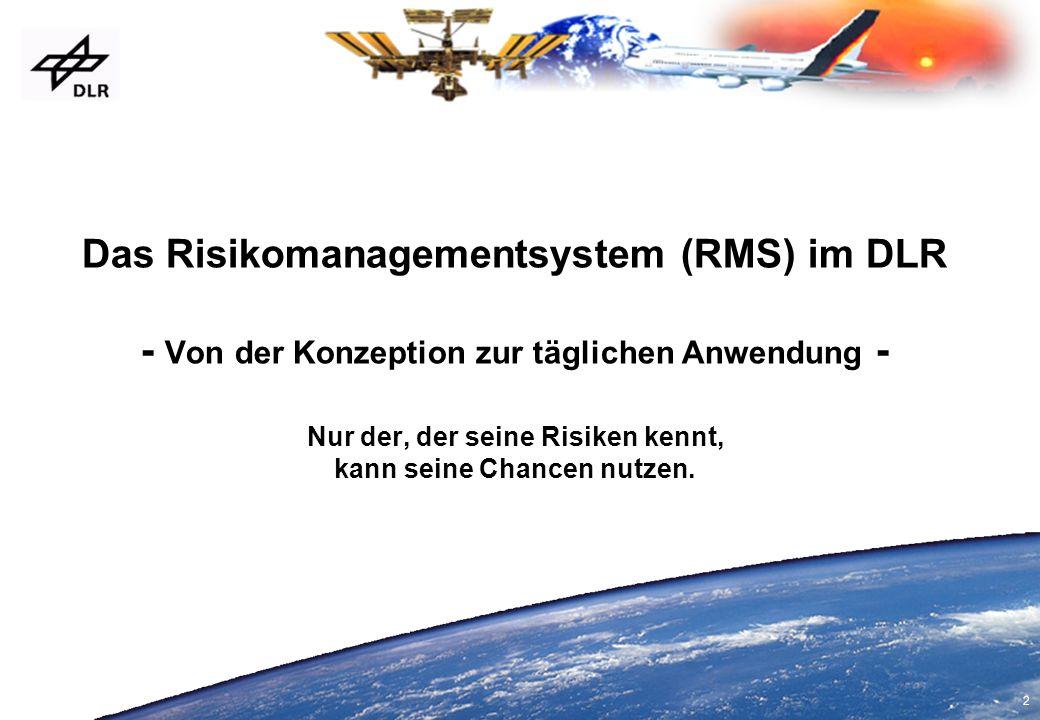 3 Gliederung Notwendigkeiten für ein RMS Eckpunkte des RMS im DLR Konzeptionsphasen Operative Einführung RMS-DV-Tool Beispiel Drittmittelauftrag Lessons Learned 2000-2005 2000 2001 2002 2003 2004 2005