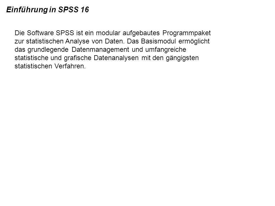 Die Software SPSS ist ein modular aufgebautes Programmpaket zur statistischen Analyse von Daten. Das Basismodul ermöglicht das grundlegende Datenmanag