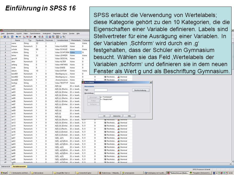 Einführung in SPSS 16 SPSS erlaubt die Verwendung von Wertelabels; diese Kategorie gehört zu den 10 Kategorien, die die Eigenschaften einer Variable d