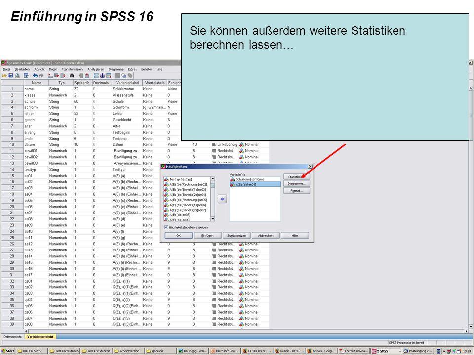 Einführung in SPSS 16 Sie können außerdem weitere Statistiken berechnen lassen…