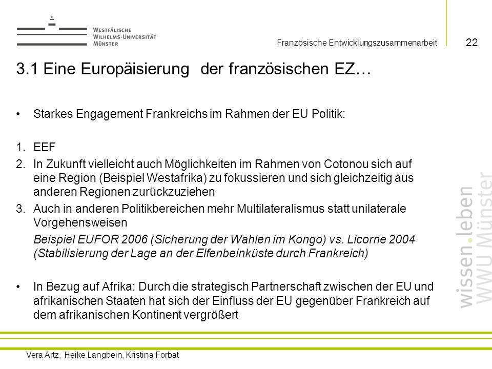 Vera Artz, Heike Langbein, Kristina Forbat 3.2 …oder die Verteidigung nationaler Interessen unter dem Deckmantel der EU-Politik.