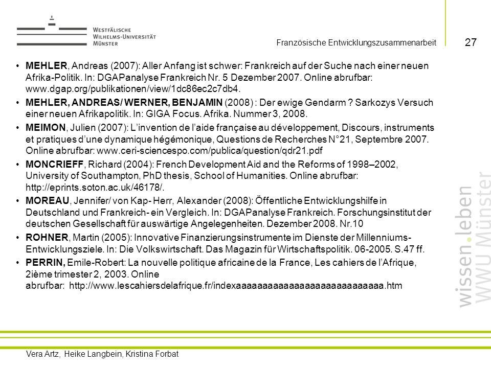 Vera Artz, Heike Langbein, Kristina Forbat TULL, Denis M.