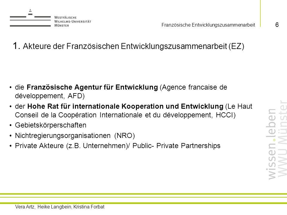 Vera Artz, Heike Langbein, Kristina Forbat Französische Entwicklungszusammenarbeit CICID COSP** Außenministerium DGCID Wirtschafts- u.