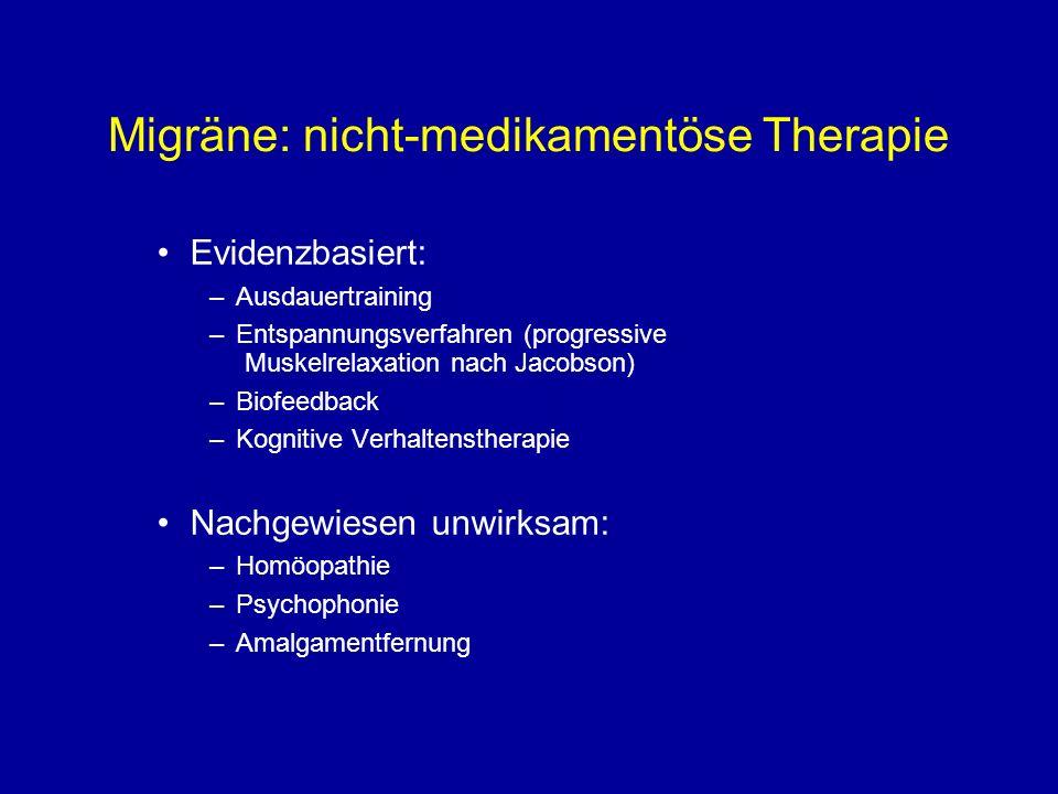 Migräne: nicht-medikamentöse Therapie Evidenzbasiert: –Ausdauertraining –Entspannungsverfahren (progressive Muskelrelaxation nach Jacobson) –Biofeedba
