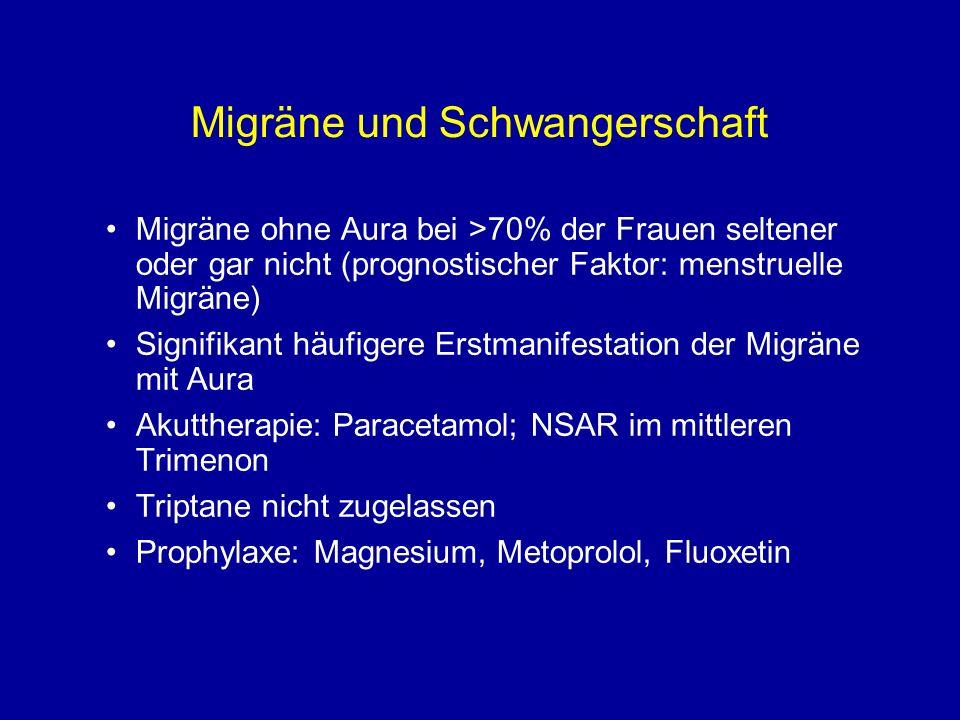 Migräne und Schwangerschaft Migräne ohne Aura bei >70% der Frauen seltener oder gar nicht (prognostischer Faktor: menstruelle Migräne) Signifikant häu