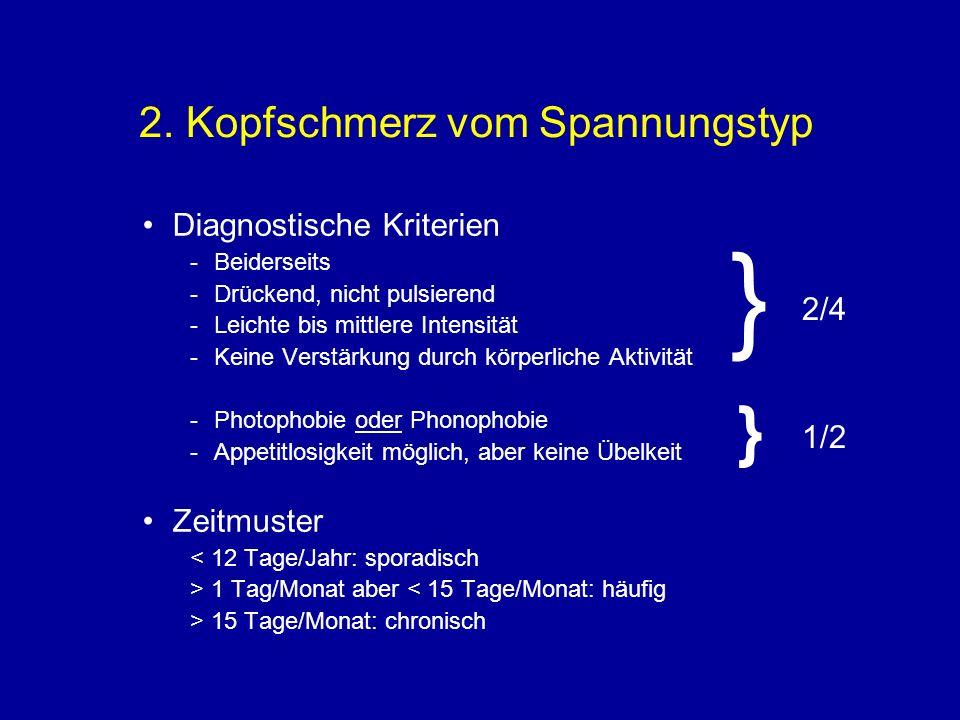2. Kopfschmerz vom Spannungstyp Diagnostische Kriterien -Beiderseits -Drückend, nicht pulsierend -Leichte bis mittlere Intensität -Keine Verstärkung d