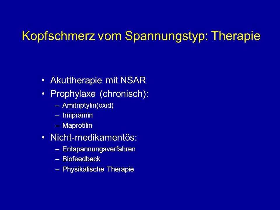 Kopfschmerz vom Spannungstyp: Therapie Akuttherapie mit NSAR Prophylaxe (chronisch): –Amitriptylin(oxid) –Imipramin –Maprotilin Nicht-medikamentös: –E