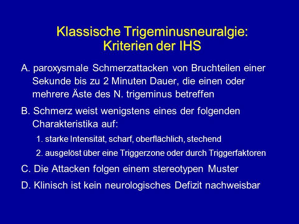 Klassische Trigeminusneuralgie: Kriterien der IHS A. paroxysmale Schmerzattacken von Bruchteilen einer Sekunde bis zu 2 Minuten Dauer, die einen oder