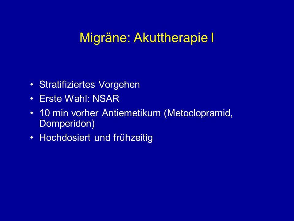 Migräne: Akuttherapie II Zweite Wahl: Triptan 7 verschiedene Triptane auf dem Markt Kriterien für Auswahl eines Triptans: –Wirksamkeit –Nebenwirkungen –Recurrence –Applikationsform –Preis Mehrere Triptane ausprobieren Empfohlene Dosierungen beachten