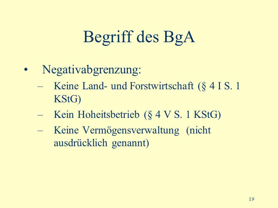 19 Begriff des BgA Negativabgrenzung: –Keine Land- und Forstwirtschaft (§ 4 I S. 1 KStG) –Kein Hoheitsbetrieb (§ 4 V S. 1 KStG) –Keine Vermögensverwal