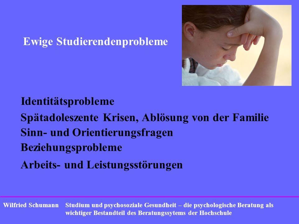 Studium und psychosoziale Gesundheit – die psychologische Beratung als wichtiger Bestandteil des Beratungssytems der Hochschule Wilfried Schumann Aktuelle Trends bei Problemen Erschöpfungssyndrome Leistungsdruck von Anfang an Suchtprobleme