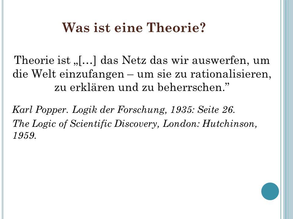 Was ist eine Theorie? Theorie ist […] das Netz das wir auswerfen, um die Welt einzufangen – um sie zu rationalisieren, zu erklären und zu beherrschen.