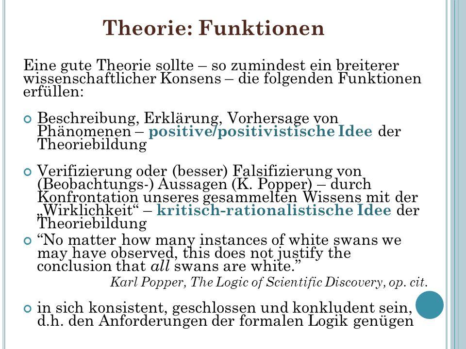 Theorie: Funktionen Eine gute Theorie sollte – so zumindest ein breiterer wissenschaftlicher Konsens – die folgenden Funktionen erfüllen: Beschreibung